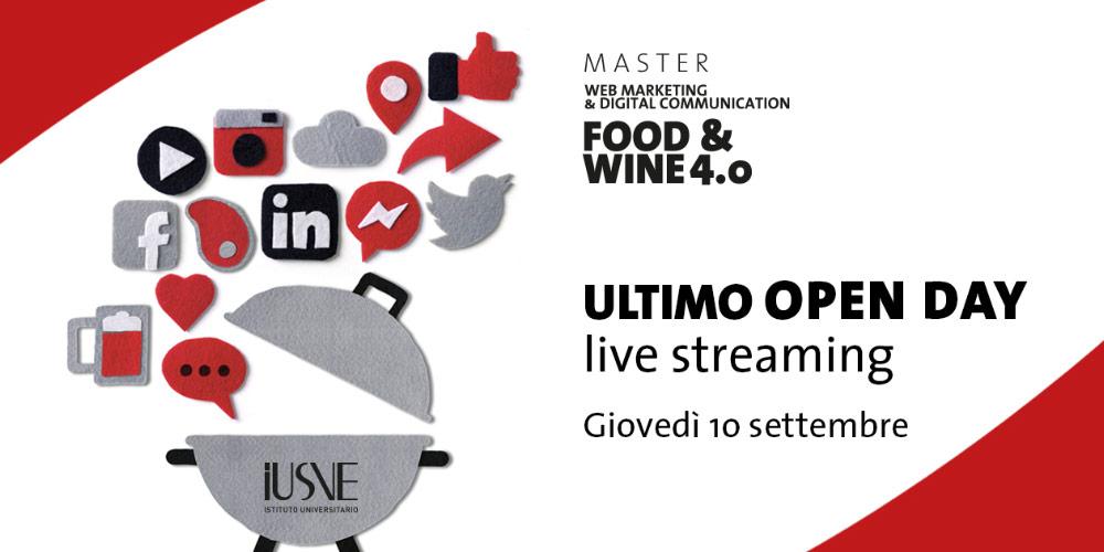 Ultimo Open Day della nuova edizione del Master Food & Wine 4.0